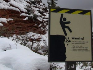 Warning sign along Angels Landing trail