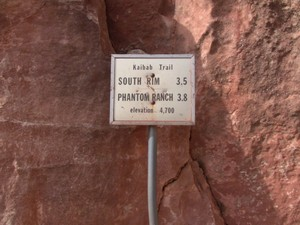 One and only mileage sign on South Kaibab Trail