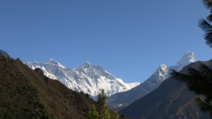 Everest, Lhotse and Ama Dablam (left to right)