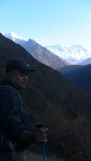 Gopal with Lhotse and Everest in the background