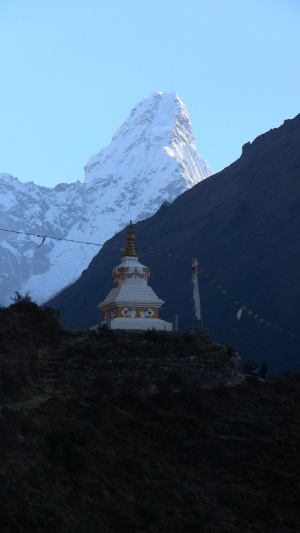 A monument to Hillary and Norgay with Ama Dablam in the background