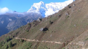 Looking back, the trail south to Namche
