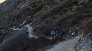 The group making their way along the trail to Phorche