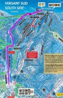 The route we took (in purple) down the mountain